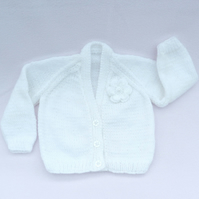 White hand knitted baby cardigan 3 to 6 months