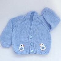 Sky blue hand knitted baby cardigan 3 to 6 months