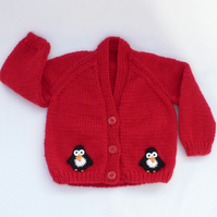 3 to 6 months red Christmas baby cardigan.