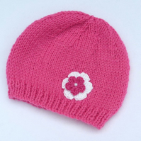 Raspberry pink baby beanie hat to fit 3 to 6 months