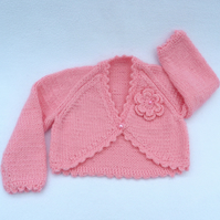 Sugar pink  hand knitted baby bolero cardigan 3 to 6 months.