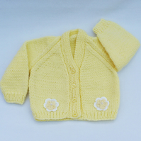 Pale yellow hand knitted baby cardigan 0 to 3 months