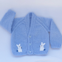 Sky blue hand knitted baby cardigan 0-3 months