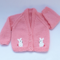 Newborn  to 3 months knitted baby cardigan in sugar pink