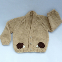 Beige hand knitted baby cardigan 0 to 3 months