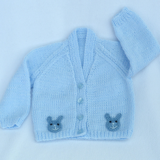 Pale blue hand knitted baby cardigan 3-6 months