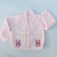 Pink hand knitted baby cardigan 3-6 months
