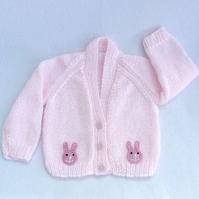 Newborn  to 3 months knitted baby cardigan in pale pink