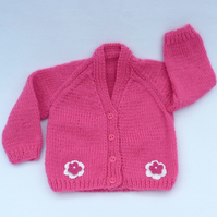 Raspberry pink 3-6 months appliqued baby cardigan