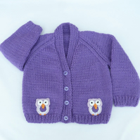 Purple hand knitted baby cardigan 3-6 months