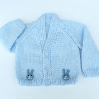 Pale blue hand knitted baby cardigan 0-3 months