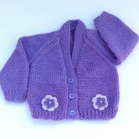 Purple hand knitted baby cardigan 0-3 months