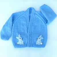 Dark blue hand knitted baby cardigan 3 to 6 months
