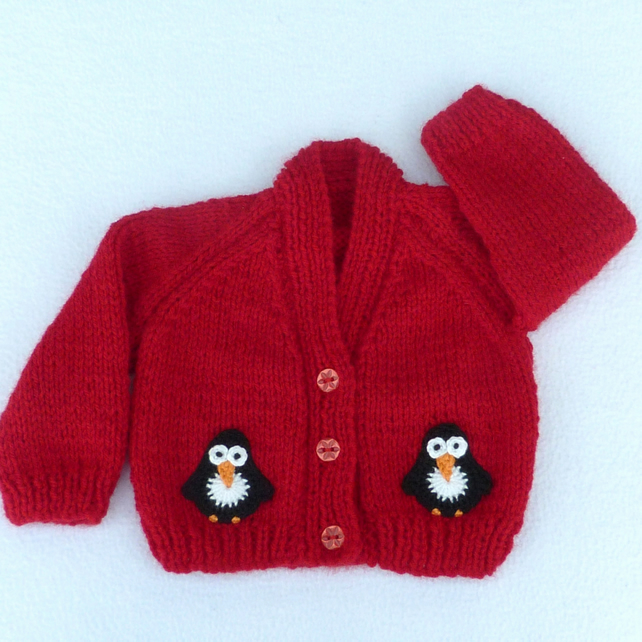 Premature baby hand knitted red Christmas cardigan