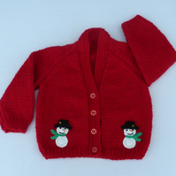 3 to 6 months red Christmas snowman baby cardigan.