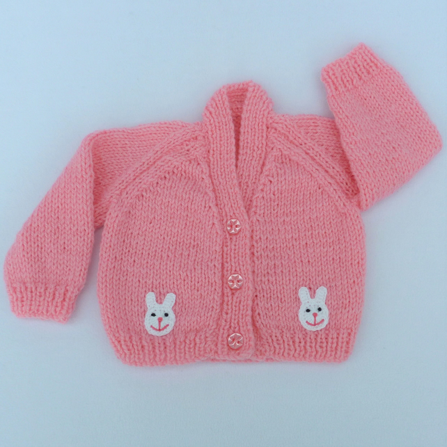 Hand knitted sugar pink premature baby cardigan.