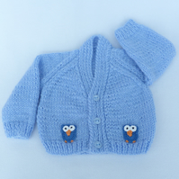 Hand knitted premature baby cardigan in sky blue