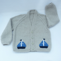 Silver grey hand knitted baby cardigan 6 to 12 months