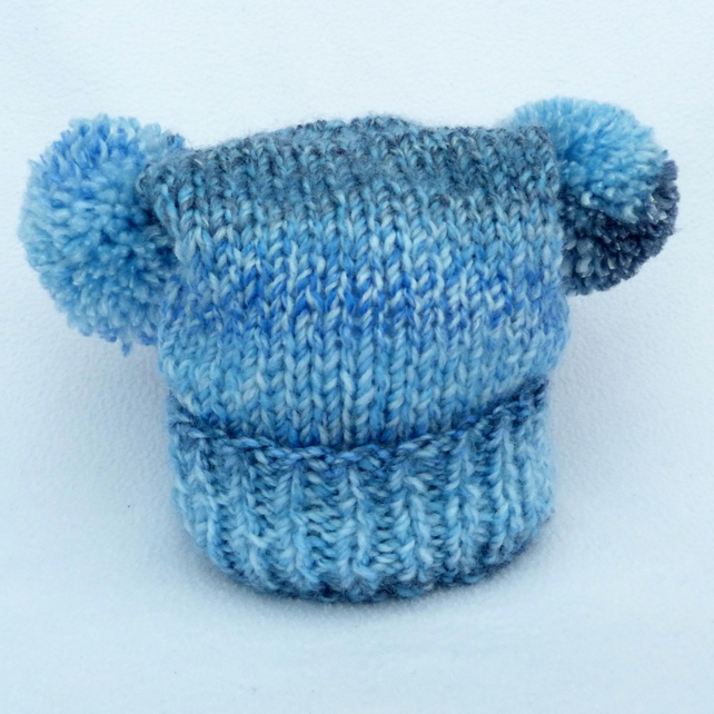 Variegated blue 3-6 months baby hat double pom pom teabag style