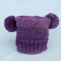 Hand knitted  purple 6 to 12 months baby hat ,double pom pom teabag style
