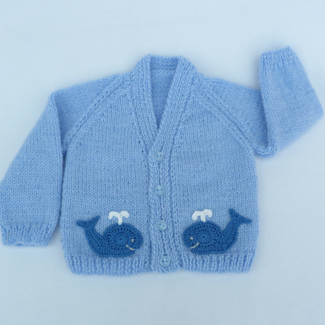 4e36e4eba Sky blue hand knitted baby cardigan 3 to 6 months - Folksy