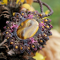 Pink Mandala macrame tiger eye necklace
