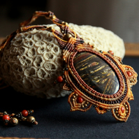 Renaissance tribal macrame necklace with Tiger eye