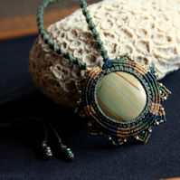 Macrame tribal boho necklace with jasper