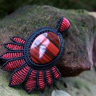 Red tiger eye tribal pendant