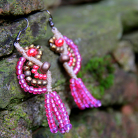 Macrame gypsy  beaded earrings