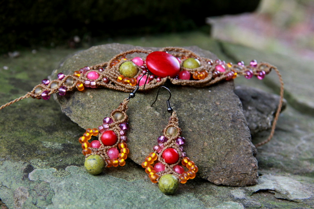 Beaded macrame bracelet and earrings set red orange