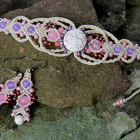 Beaded macrame bracelet and earrings set white pink