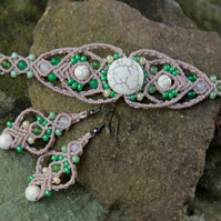 Beaded macrame bracelet and earrings set white green