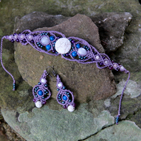 Beaded macrame bracelet and earrings set purple blue