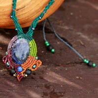 Sodalite macrame necklace with glass and lava beads