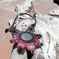 Pink mandala macrame necklace with black lava stone