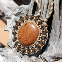 Mandala elephant skin jasper necklace