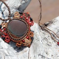 Mandala macrame necklace with jasper