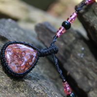 Macrame necklace with red agate and glass beads