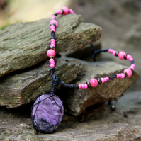 Necklace with charoite and glass beads