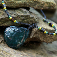 Macrame necklace with moss agate