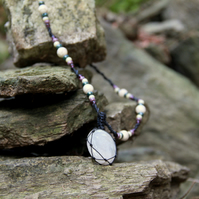 Necklace with rainbow moonstone