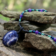 Sodalite macrame necklace