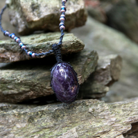Macrame necklace with amethyst
