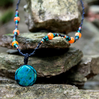Necklace with chrysocolla