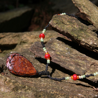 Macrame necklace with red agate