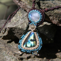 Tribal necklace with moonstone and labradorite