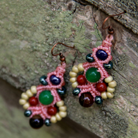 Macrame beaded earrings in pink and green