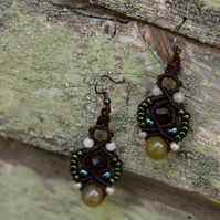 Macrame beaded earrings in brown and yellow