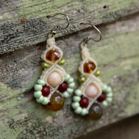 Macrame beaded earrings in white and yellow